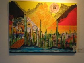 "(Click to enlarge) This piece, called ""The Gift of the Nile,"" is one of two brightly colored paintings by journalism professor Maggy Zanger."