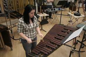 Hillary Engel, a UA music education major, is a member of the percussion group.