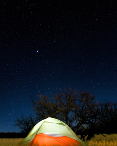 UA Outdoor Adventures Club members camp under the stars at Cochise Stronghold. (Photo: Tobey Schmidt)