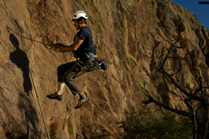 Adrian Montaño scales Sweet Rock at Cochise Stronghold. (Photo: Tobey Schmidt)