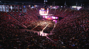 The Vieja Arena at San Diego State University was filled to the brim on April 19 with the scores of people who turned out to listen to the 14th Dalai Lama lecture about upholding compassion in a changing world. (Photo by Tim Mantoani)