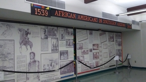 A room in the Dunbar Pavilion holds panels depicting African-American history, which previously were housed at the Tucson Convention Center.