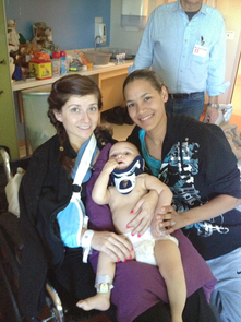 Matthews (right), her infant son and her sister-in-law Amy Rodriguez meeting again, months after the crash.