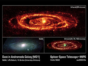 Spitzer's Multiband Imaging Photometer recorded 11,000 separate infrared snapshots of the Andromeda galaxy during 18 hours on Aug. 25, 2005, exactly one year after launch. A mosaic of those images (top) clearly show features that were fuzzy before and tells astronomers a lot more about what's going on in our neighbor spiral galaxy. (Photo: NASA/JPL-Caltech/K. Gordon, University of Arizona)
