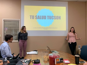 "Rocky Baier and Ava Garcia present their ""Tu Salud Tucson"" mobile website project to Arizona Daily Star editors and executives. (Photo: Michael McKisson)"