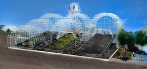 Once completed, three hillslopes side by side will make up the Landscape Evolution Observatory. (Illustration: Biosphere 2)