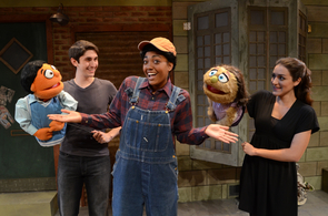 "Performing one of the signature songs of ""Avenue Q,"" ""Everyone's a Little Bit Racist,"" are (from left) Princeton (Michael Calvoni), Gary Coleman (Sydnee Ortiz) & Kate Monster (Marie MacKnight). (Photo credit: Patrick McArdle)"