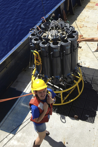 Sarah Schwenck prepares to deploy the rosette, which contains bottles on a metal frame that the research team then lower into the ocean on a cable to collect water samples from different depths. (Photo credit: Jennifer Glass, Georgia Institute of Technology)