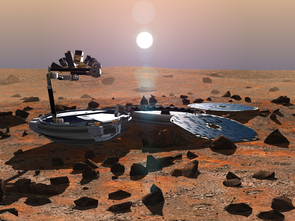Upon landing, Beagle 2 was designed to unfold like a pocket watch into its main components, a petal-like array of solar panels and a robotic arm bristling with scientific instruments. (Artist's impression: Beagle2.com)
