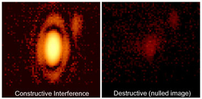 "First AO-stabilized nulled image of a star. The two images show the star alpha Bootes before and after ""nulling."" Nulling, a technique astronomers use to see faint material around a star, blocks all but 2 percent of the starlight in the photo at right. (Photo: Phil Hinz)"