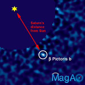 An image of the exoplanet Beta Pictoris b taken with the Magellan Adaptive Optics VisAO camera. This image was made using a CCD camera, which is essentially the same technology as a digital camera.  The planet is nearly 100,000 times fainter than its star, and orbits its star at roughly the same distance as Saturn from our Sun. (Image: Jared Males/UA)
