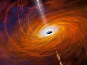 Artist impression of a black hole with an accretion disk and jet. (Image: Mark Garlick)
