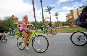 Rated a bicycle-friendly campus, the UA encourages alternative transportation to cut down on emissions from commuting.