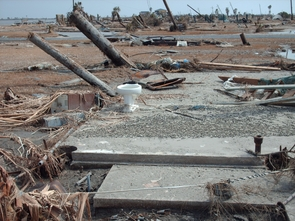 A photo taken on Sept. 18, 2008, shows damage on the Bolivar Peninsula of Texas from Hurricane Ike. (Credit: National Weather Service/NOAA)