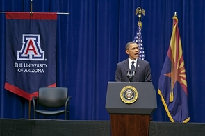 U.S. President Barack Obama speaks on the UA campus in McKale Memorial Center. (Photo credit: Dominic Arizona Bonuccelli)