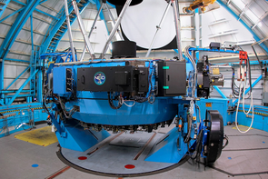 The NEID fiber feed mounted on the WIYN telescope. (Photo: NSF's National Optical-Infrared Astronomy Research Laboratory/KPNO/NSF/AURA)