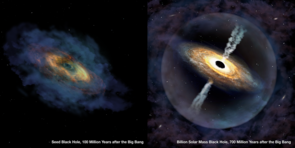 An artist's impression of the formation of the quasar Pōniuā'ena, starting with a seed black hole 100 million years after the Big Bang (left), then growing to a billion solar masses 700 million years after the Big Bang (right). (Credit: International Gemini Observatory/NOIRLab/NSF/AURA/P. Marenfeld)
