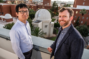 From left: Chi-kwan Chan is an assistant astronomer at the UA and leads the EHT Computations and Software Working Group. Daniel Marrone, associate professor of astronomy, was instrumental in integrating the South Pole Telescope into the EHT array. (Photo: Bob Demers/UANews)