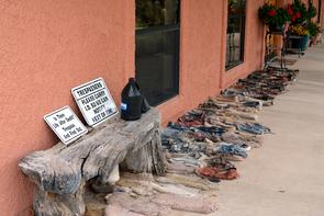 Rancher Jim Chilton's front porch warns trespassers. (Photo: Chastity Laskey)