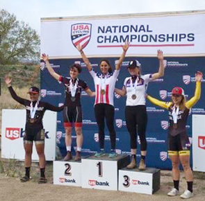 Erica Clevenger on the podium's top spot at the USA Cycling championships (Photo: Doug Grief)