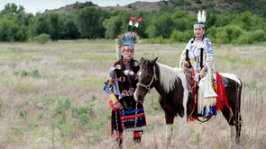 Comanche tribal members Jhane Myers and Philip Bread prepare for their annual fair outside of Lawton, Oklahoma. (Photo: Courtesy of Providence Pictures)