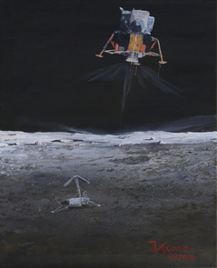 Space artist and SPACEWATCH astronomer Jim Scotti's interpretation of the Lunar Module Intrepid landing on the moon with Surveyor 3 in the foreground. (Image: Jim Scotti)