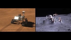 "Left: Fifth years of extraterrestrial off-roading: ""Curiosity"" leaves tracks on Mars. Right: An Apollo rover kicks up dust. (Image: NASA)"