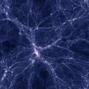 In this simulation of the distribution of dark matter in the universe, El Gato calculated the whereabouts of more than one billion dark matter particles into an image spanning 280 million light years from side to side. A cosmic web of dark matter filaments connects galaxies, represented by dots of varying brightness and color. Bright areas represent a high density of dark matter particles along the line of sight, and purple galaxies are more massive than blue ones.  (Image: Brant Robertson)