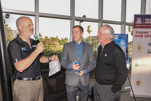 From left: Doug Hockstad, Dawson Baker and UA President Robert C. Robbins (Photo: Tech Launch Arizona)