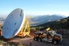 With the new antenna in tow, a special haul truck crawls up the winding road to Kitt Peak. (Photo: Lucy Ziurys)