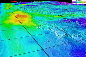 This 3D map superimposes gamma-ray data from Mars Odyssey's Gamma-Ray Spectrometer onto topographic data from the laser altimeter onboard the Mars Global Surveyor.  The red arrow indicates the shield volcanoes of Elysium rise in northern Mars, seen obliquely to the southeast. Blue-to-violet colors at the Elysium rise and highlands stretching to the foreground of the map mark areas poor in potassium.  Red-to-yellow colors mark potassium-rich sedimentary deposits in lowlands below the Mars Pathfinder landing site (PF) and Viking 1 landing site (V1).