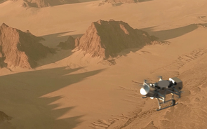 Scheduled for arrival at Saturn's moon Titan in 2034, the Dragonfly quadcopter is designed to buzz across Titan's surface, traveling much farther than any planetary rover. Despite its unique ability to fly, Dragonfly would spend most of its time on Titan's surface making science measurements. (Image: NASA/JHUAPL)