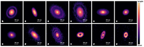 Until recently, protoplanetary disks were believed to be smooth, pancake-like objects. The results from this study show that some disks are more like doughnuts with holes, but even more often appear as a series of rings. The rings are likely carved by planets that are otherwise invisible to us. (Image: Feng Long)