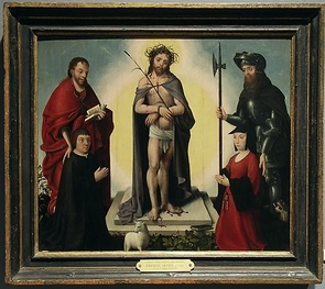 "(Click to enlarge) This Renaissance painting, titled ""The Man of Sorrows with Saints and Donors,"" is one of the first that Charles Falco photographed with his relatively inexpensive IR camera. See what his camera revealed in the photo below."