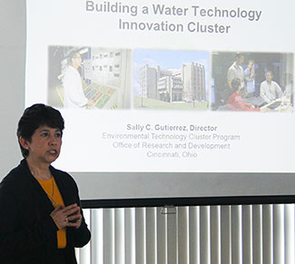The EPA's Sally Gutierrez shares Ohio's water cluster model with UA faculty; county and city administrators; and community activists.