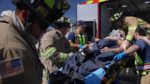 "Northwest Fire District emergency medical responders practice treating and preventing the three ""H-bombs"" of traumatic brain injury using EPIC protocol. (Photo: Bob Demers/UA News)"