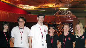 EPO team members, left to right, Chelsea Hodson, Kenny Fine, Jacob Egan, Carla Bitter (wearing ears from a Halloween costume), Sanlyn Buxner and Melissa Lamberton.