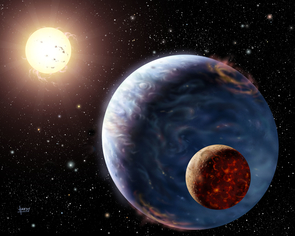 Artist's impression of an exoplanet far away from our solar system, bathed in the light of its parent star and circled by a young moon. (Image: NASA)