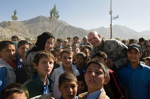 Hervey and Tim Kirk at a future leaders engagement activity in Afghanistan. (Courtesy of Felisa Hervey)