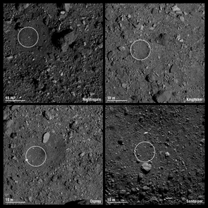 The final four candidate sample collection sites on asteroid Bennu are designated Nightingale, Kingfisher, Osprey and Sandpiper. Each circle has a 16.4 ft (5 m) radius. Credit: NASA/Goddard/University of Arizona