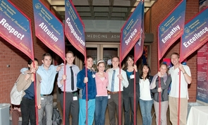 Banners featuring the seven attributes of humanism in medicine – integrity, excellence, compassion, altruism, respect, empathy and service – will be displayed on Solidarity Day.