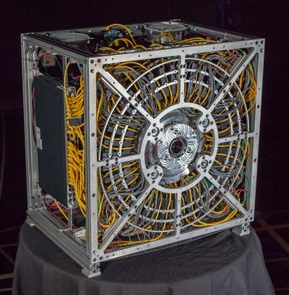 The gigapixel camera prototype. (Photo by Duke University Imaging and Spectroscopy Program)