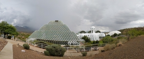 A glass pyramid encompasses the Biosphere 2 rain forest.
