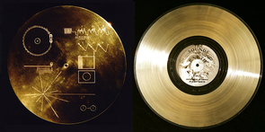 "Each Voyager probe carries a copy of the ""Golden Record."" Compiled by a team led by Carl Sagan in just six weeks, each record contains various sounds of Earth, including music and encoded images. The discs, complete with a stylus for playback, are protected inside a case (left) engraved with instructions on how to play them. (Photo: NASA)"