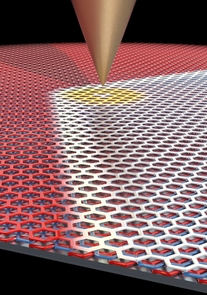 Using a sharp metal scanning tunneling microscopy tip, LeRoy and his collaborators were able to move the domain border between the two graphene configurations around. (Image: Pablo San-Jose ICMM-CSIC)