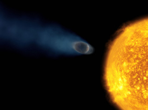 Artist's illustration of the hot Jupiter-like planet orbiting star HD 209458. Astronomers have now discovered oxygen and carbon in in a violent atmospheric 'blow-off.' (Image credit: European Space Agency, Alfred Vidal-Madjar, Institut d'Astrophysique de Paris, CNRS, France, and NASA)