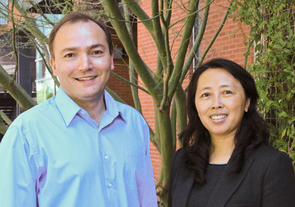 Samy Missoum, left, associate professor in aerospace and mechanical engineering, and director of the Computational Optimal Design of Engineering Systems lab, and Zhao Chen, professor and director of the epidemiology and biostatistics division of the UA Mel and Enid Zuckerman College of Public Health.