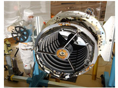 HiRISE's 20-inch primary mirror is made of Zerodur (R), a type of glass with low thermal expansion. The instrument uses a lightweight, graphite composite structure to support a total of five mirrors in the camera. HiRISE will be able to detect objects as small as 2 feet in diameter on the surface of Mars, including Mars Rovers, Spirit and Opportunity. (Photo: Courtesy of Ball Aerospace)