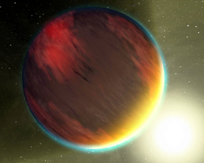 This artist's concept shows a cloudy, Jupiter-like planet that orbits very close to its fiery star. Spitzer Space Telescope observations for at least one such planet, called HD 189733b, showed the nightside temperatures are 1,300 degrees Fahrenheit hotter than they would be on a wind-free planet.