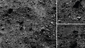 The spacecraft used its MapCam instrument to capture the wide-angle image of a 590-foot (180-meter) wide area with many rocks, including some large boulders, and PolyCam to snap the close-up frames, which are 101 feet (31 meters) across. (Images: NASA/Goddard/University of Arizona)